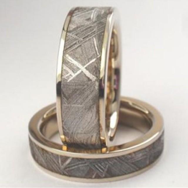 14k White Gold Meteorite Rings With Widmanstatten Pattern His And Hers Rings 2455027 Weddbook