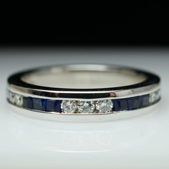 Vintage Sapphire Diamond Wedding Band 14k White Gold Anniversary