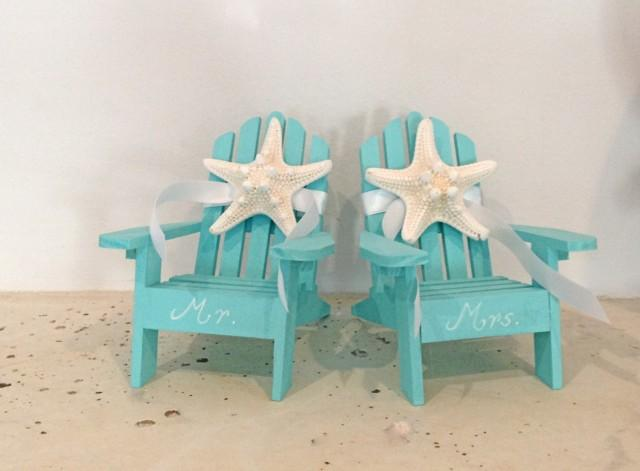 Beach Wedding Cake Topper 2 Mini Adirondack Chairs With