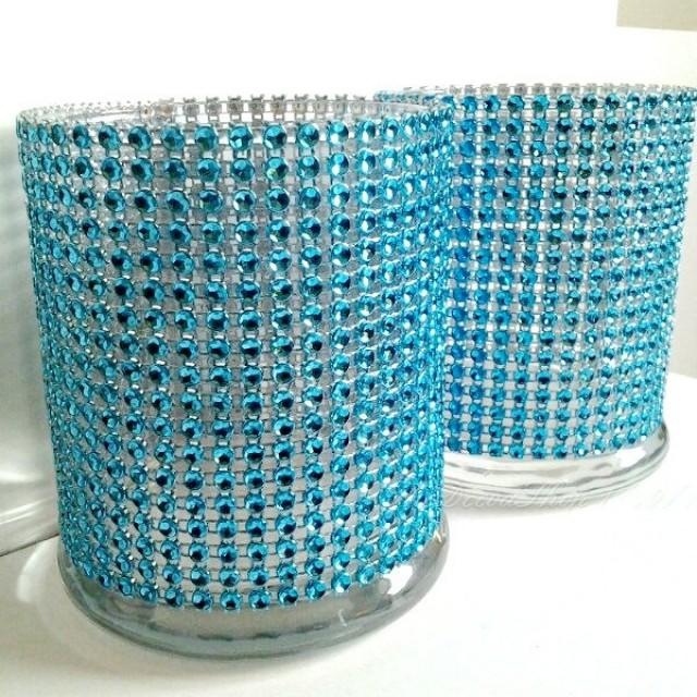 Cylinder Vase Cocktail Hour Bar Vases Lot Turquoise Teal Bling Rhinestone Diamond Crystal