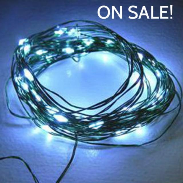 48 Cool White Fairy Lights On 15 Foot Coated Green Wire