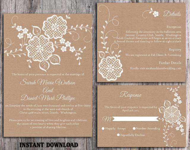 Wedding Invitations Diy Templates Free: DIY Lace Wedding Invitation Template Set Editable Word