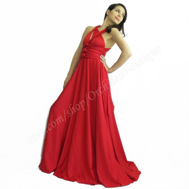 Bridesmaids Convertible Infinity Wrap Chameleon Maxi Red Women