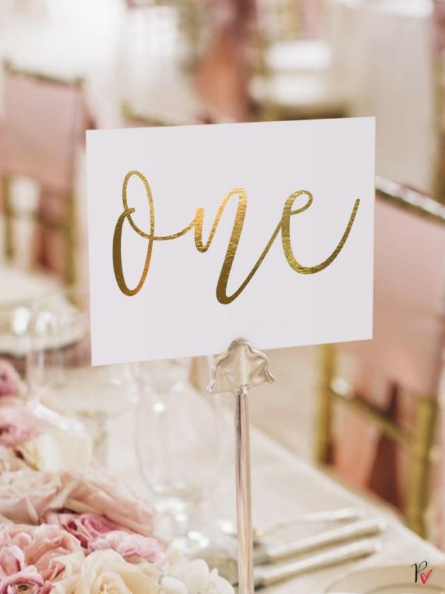 Gold Foil Table Numbers / Names Set Personalised Gold