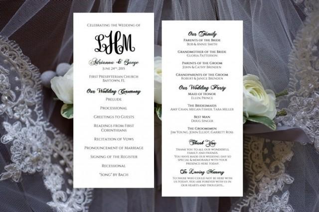 Monogram Wedding Program Template Tea Length Printable INSTANT ...