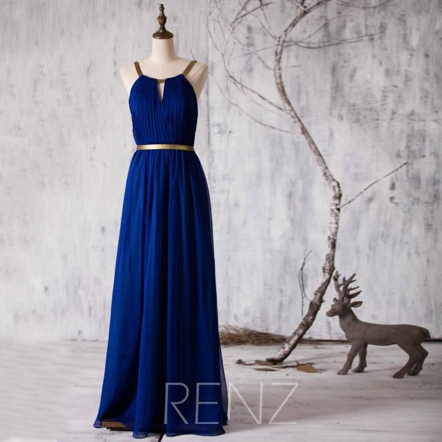 2015 Long Bridesmaid Dress Royal Blue Wedding Dress
