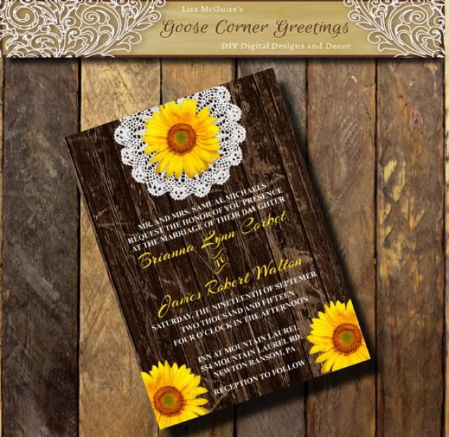 printable wedding invitation barnwood sunflower doily flower sunflower invitations country wedding rustic bridal shower birthday invitations 2456382 - When Do Wedding Invites Go Out