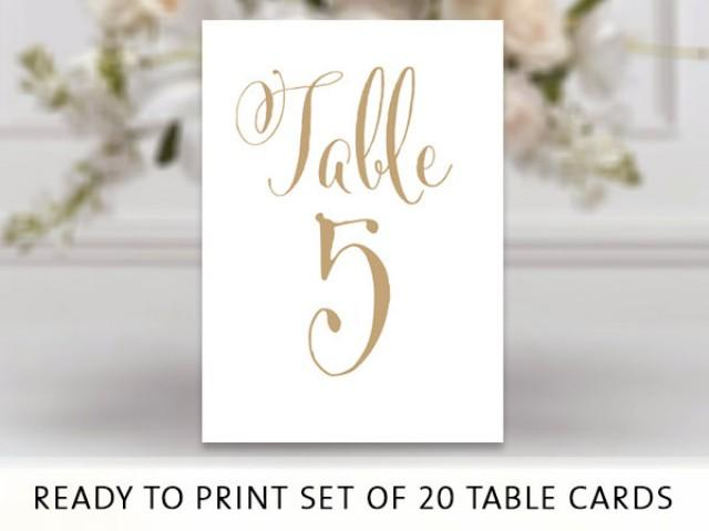 Ready To Print Set Of Table Number Cards Bella Antique Gold Pdf Format X Table Cards You Print Instant Download