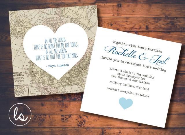 Diy Printable Vintage Map Map Wedding Invitation