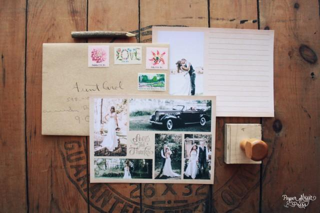 Vintage Wedding Thank You Cards With