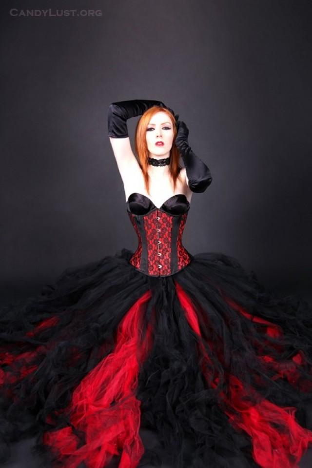 f0197ef2c7a2 Gothic Red Black Bridal skirt, floor length tulle tutu skirt any size  MTCoffinz