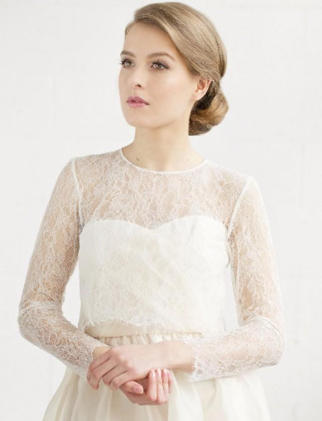 Bridal Lace Top ,Long Sleeve Bridal Lace Cover Up, Chantilly Lace ...