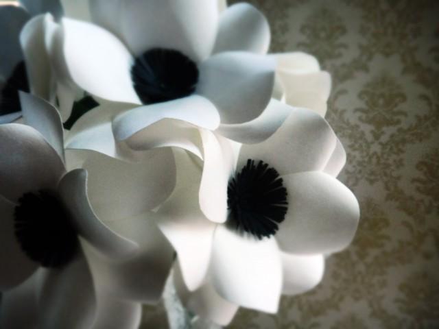 black and white anemone paper flower bouquet 2456785 weddbook