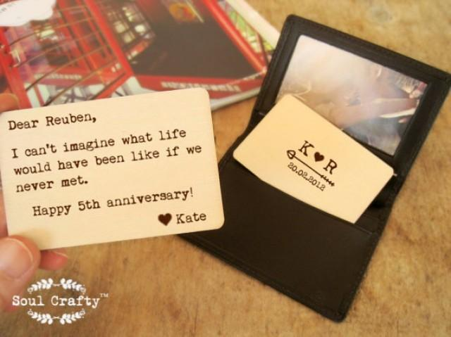 5th Wedding Anniversary Gift For Him: Personlized Wallet Insert Card Rustic Wooden Wallet Card