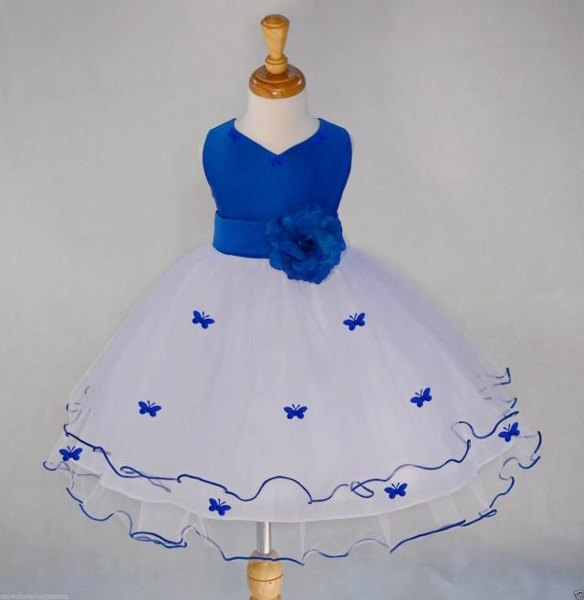 White Royal Blue Flower Girl Butterfy Tulle Dress Tie Sash Pageant