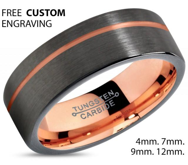 Tungsten Carbide Black Rose Gold Ring