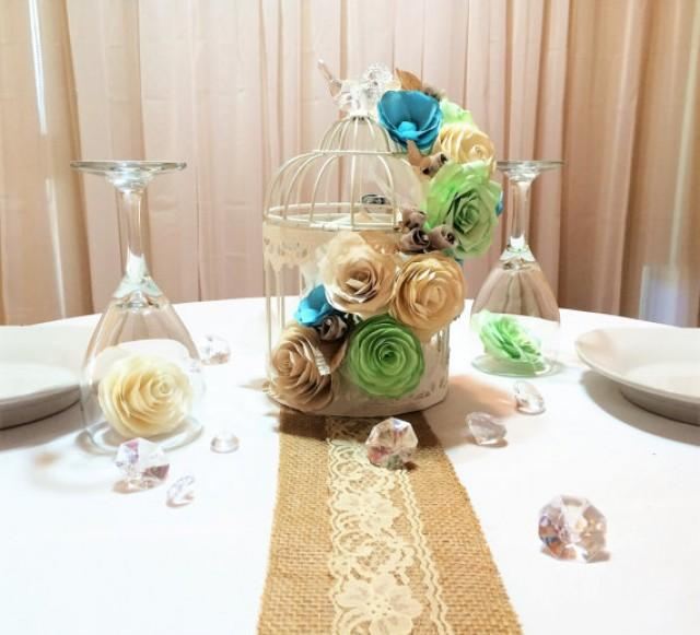 Floral Birdcage Birdcage Wedding Centerpieces Mint Green
