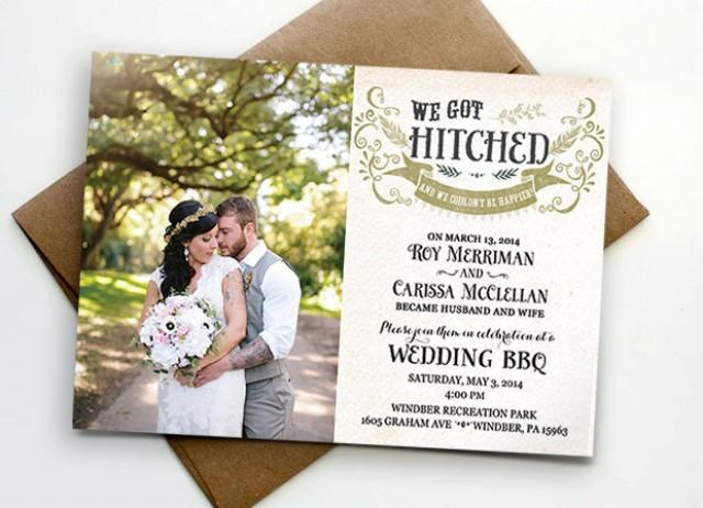 Post wedding reception invitation we got hitched 2457430 weddbook stopboris Choice Image