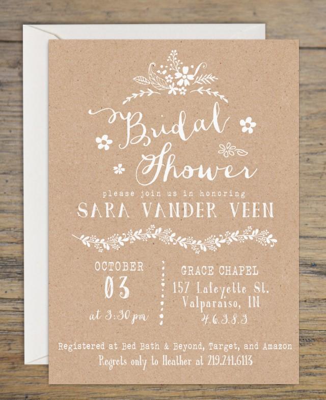 Kraft Bridal Shower Invitation, Bridal Shower Invitations, Wedding Shower  Invitation, Rustic Themed Bridal Shower, Printable Invitation #2457431    Weddbook