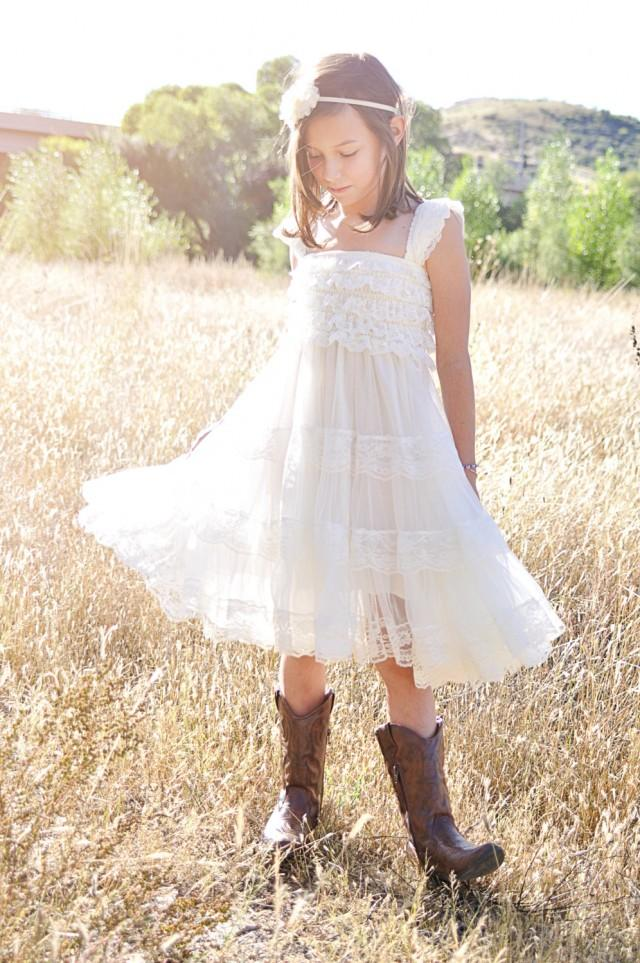 Ivory Flower Girl Dress -Ivory Lace Baby Doll Dress-Rustic ...  Ivory Lace Vintage Flower Girl Dress