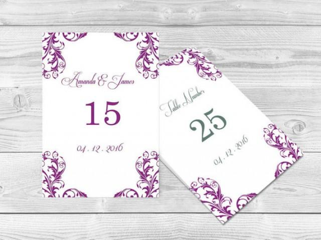 Wedding Table Numbers Template 4x6 Elegant Orchid Purple