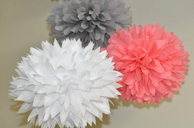 3 Poms White Gray And Coral Bridal Shower Bachelorette Party Decorations Sip See Baby Decor Birthday Table 2457546