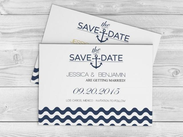 image about Printable Save the Date Templates called Nautical Marriage Help save The Day Template - Military Anchor Wave
