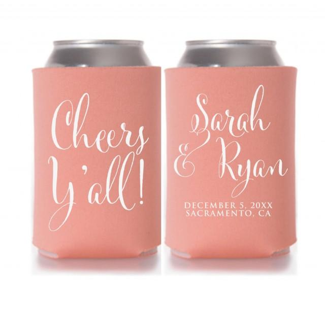Wedding Koozies Cheers Yall Personalized Can Coolers Wedding