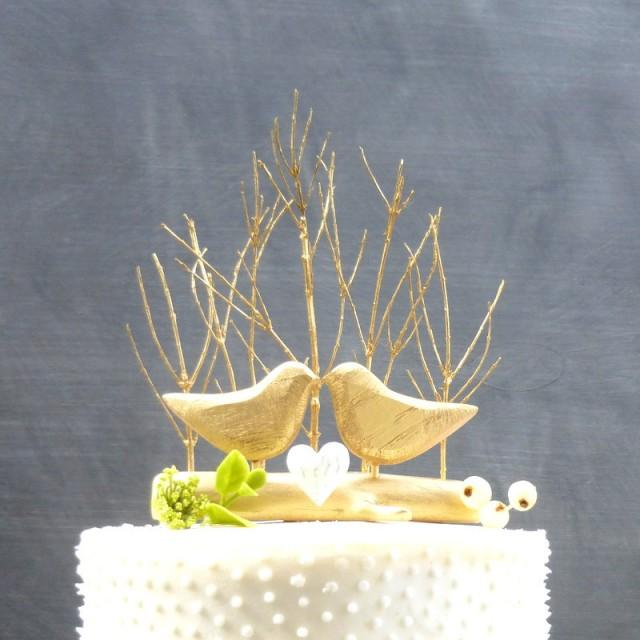 Gold Wedding Cake Topper With Love Birds Gold Cake Topper Rustic