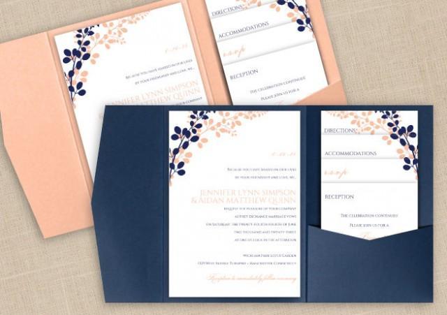 DiY Pocket Wedding Invitation Template Set   Instant DOWNLOAD   EDITABLE  TEXT   Exquisite Vines (Navy U0026 Peach)   Microsoft® Word Format #2458252    Weddbook