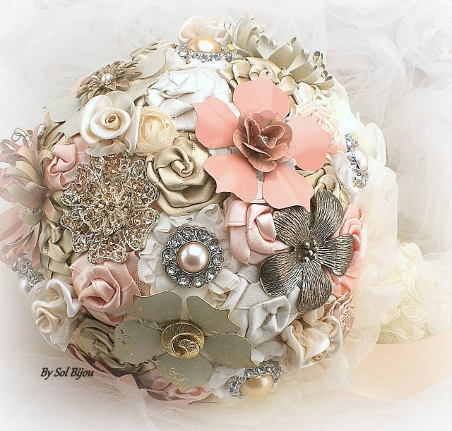 Brooch Bouquet, Ivory, Cream, Blush, Peach, Coral, Champagne, Bridal ...