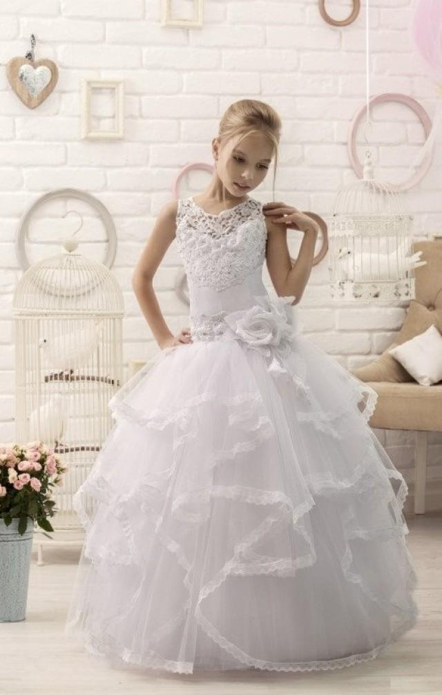 White Lace Flower Girl Dress First Communion Dress ...
