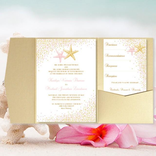 "DIY Pocket Fold Beach Wedding Invitation ""Confetti Starfish"" Blush Pink & Gold Printable Templates Tropical, Hawaiian, Destination You Print"
