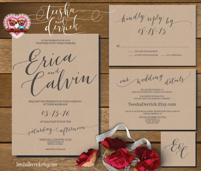 Information To Include On Wedding Invitation: Printable Wedding Invitation Suite (w0360), Consists Of