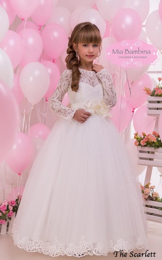 Lace Flower Girl Dress Long Sleeve First Communion Dress