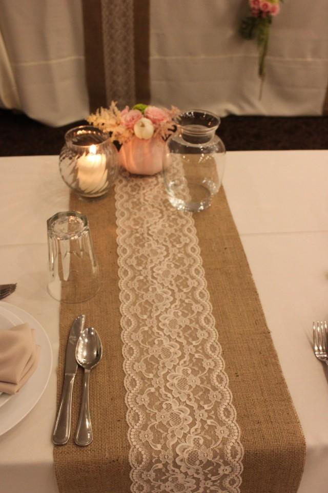 Sale 12 Ft 12 X 144 Burlap Lace Table Runner Wedding
