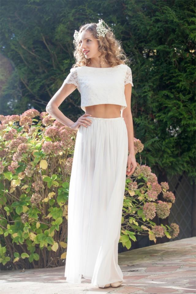 two piece crop top wedding dress boho crop top lace wedding ensemble simple chiffon skirt. Black Bedroom Furniture Sets. Home Design Ideas