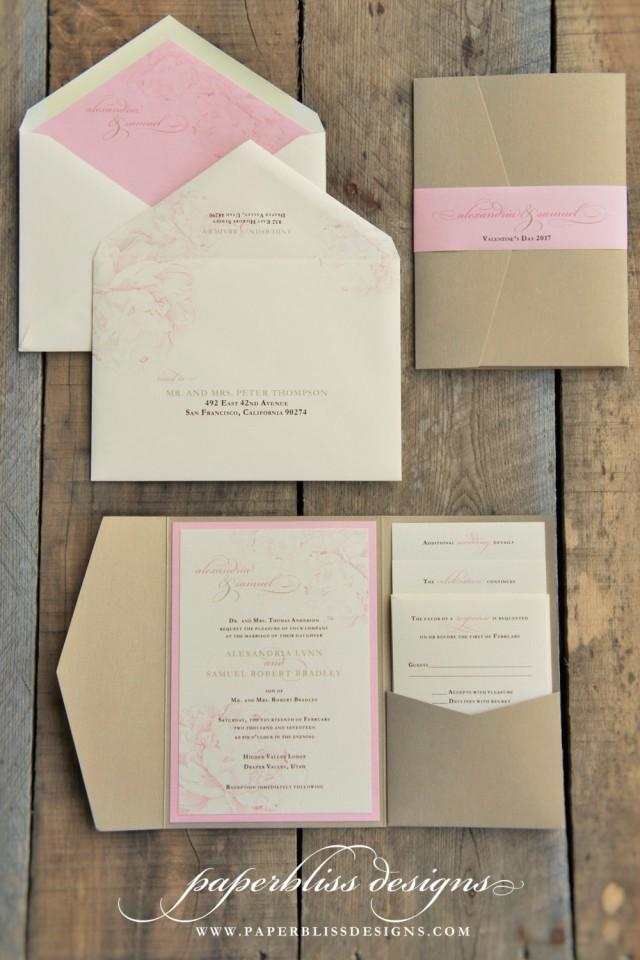 Blush pink peony wedding invitation suite pink and gold for Wedding invitations pocket style uk