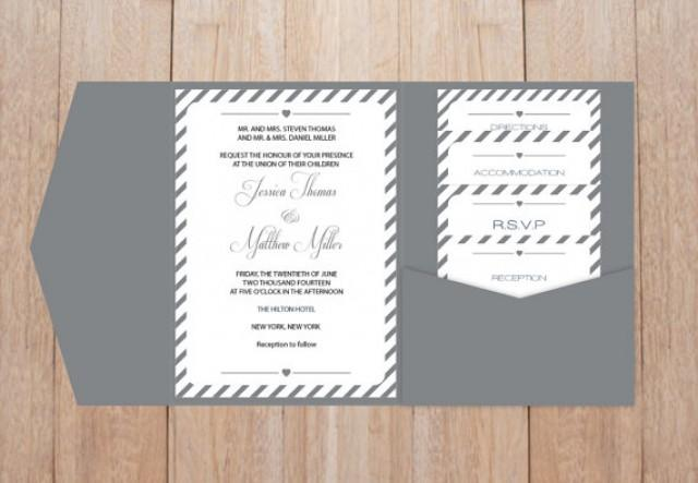 DIY Pocket Wedding Invitation Template Set