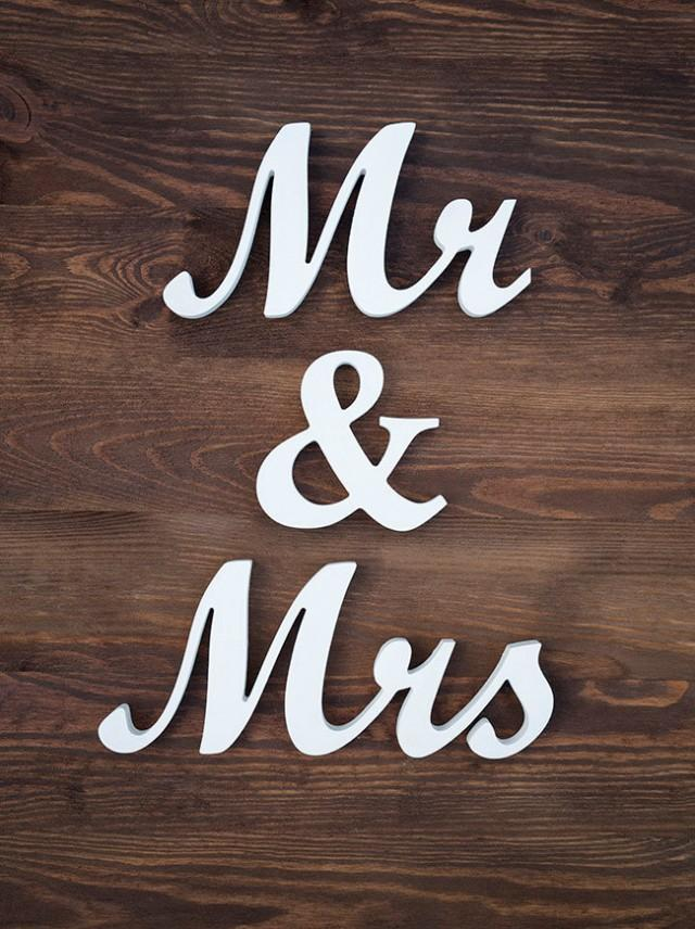 Mr And Mrs Wedding Sign Wooden Script Letters White Decor