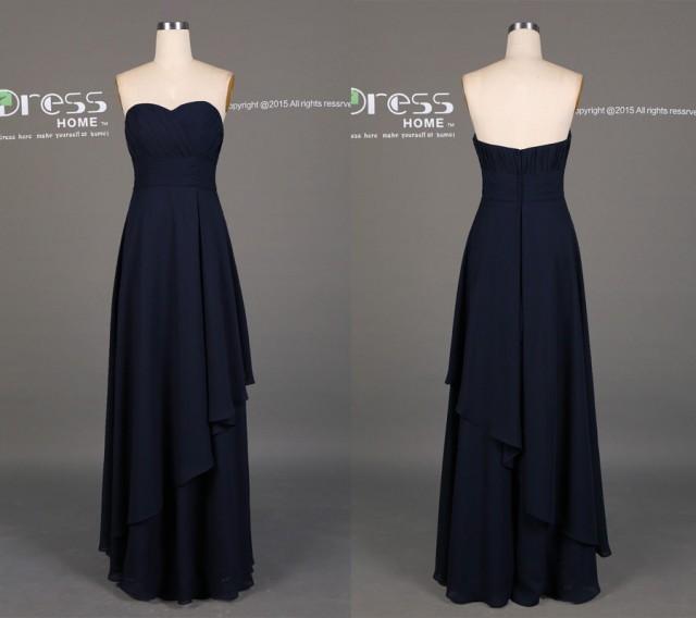 Simple Navy Sweetheart Long Bridesmaid Dress/Navy