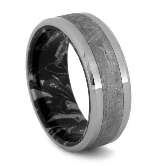 Mokume Gane Ring With Titanium Edges And Gibeon Meteorite