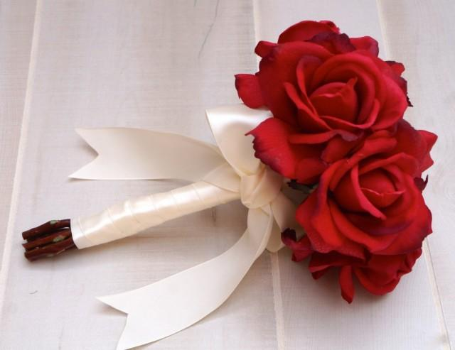 Choose Ribbon Color Real Touch Red Rose Bouquet Red