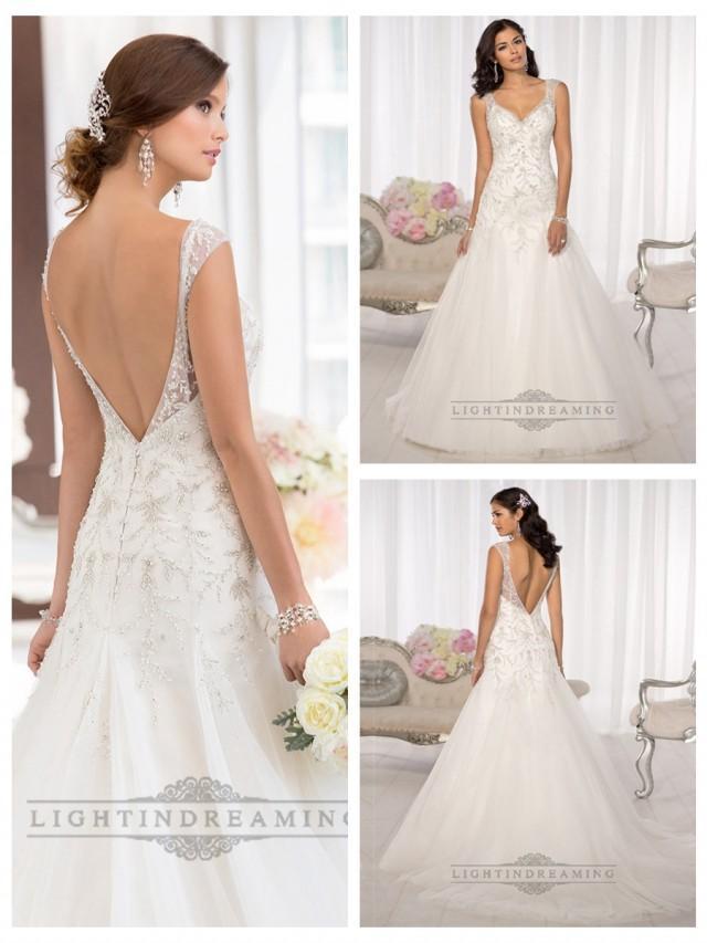 Elegant beaded cap sleeves sweetheart embellished wedding for Super low back wedding dress