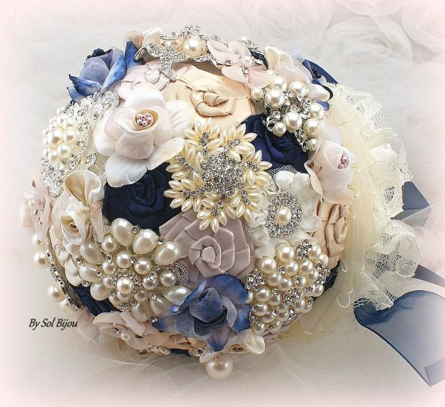 Blush Navy Blue Wedding Cake