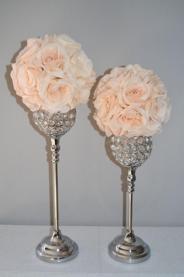 Set of silver bling rhinestone flower ball stands or