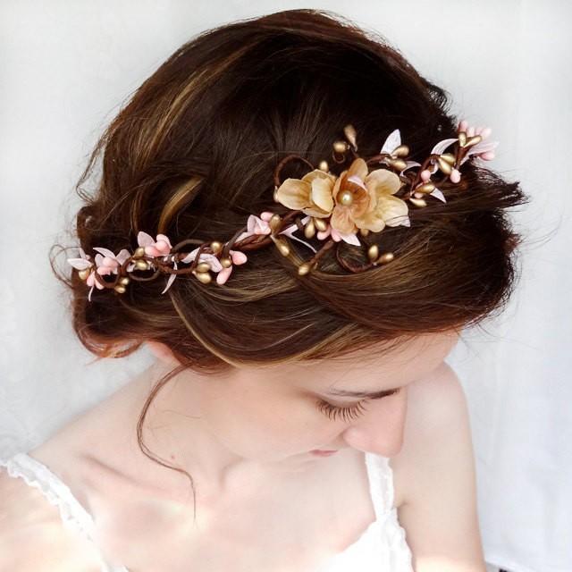 Bridal Headpiece Pink And Gold Wedding Hair Piece Flower Crown Fl Headband Halo 2461312