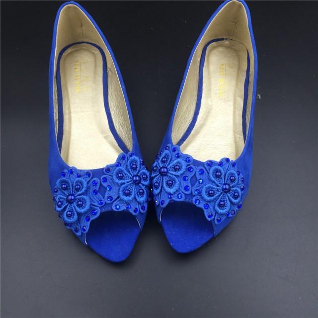31e4bd6abc946 Girls Blue Vintage Lace Wedding Shoes,RoyalblueBridal Ballet Shoes,Lace Peep  Toe Flats Shoes,Women Wedding Shoes,Comfortable Bridal Flats #2461455 - ...