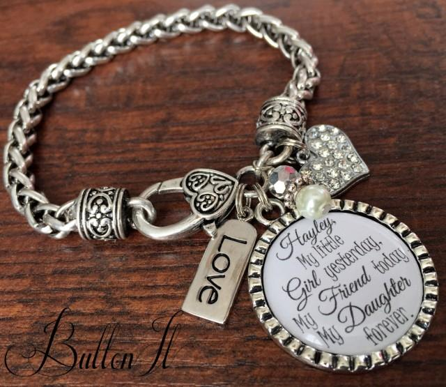 Gift For Best Friend On Her Wedding Day: Mother Daughter Bracelet, Personalized Wedding, Mother