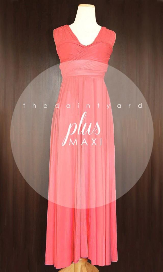 MAXI Plus Size Coral Bridesmaid Dress Convertible Dress ...